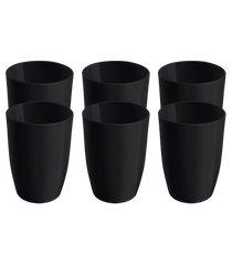 conjunto 6 copos cozy 7,4 x 7,4 x 10,2 cm 275 ml preto coza-326038877 preto coza