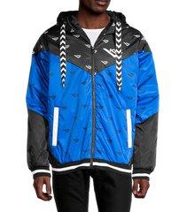 pony men's logo-print chevron hooded bomber jacket - royal - size m