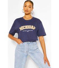 oversized michigan slogan boyfriend t-shirt, navy