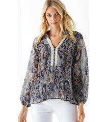 yoins blusa de manga larga con estampado de paisley azul marino