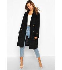 brushed wool look pocket detail coat, black
