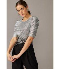amaro feminino blusa brilhos manga franzida, prata