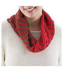alpaca blend infinity scarf, 'chocolate cherry' (peru)