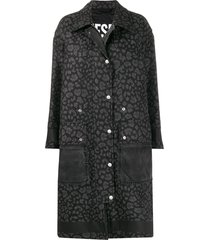 diesel animal print coat - black