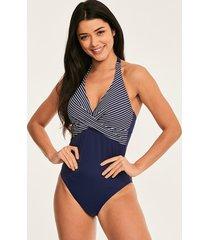 tailor underwire halter twist front tummy control stripe one-piece swimsuit d-gg