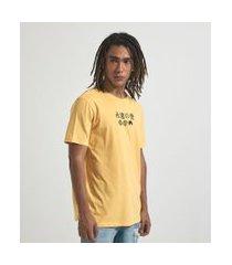 camiseta com estampa ideograma oriental | blue steel | amarelo | p