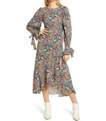 women's topshop paisley floral print long sleeve high/low dress, size 2 us - black