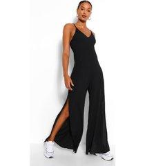 ribbed strappy oversized split leg jumpsuit, black