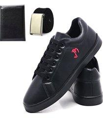 sapatênis básico com cinto e carteira linha exclusiva joão mello masculino preto