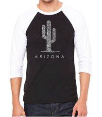 la pop art arizona cities men's raglan word art t-shirt
