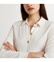 river island womens cream buttoned long sleeve polo shirt