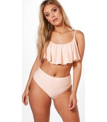 plus korte bikini met franjes, pale pink