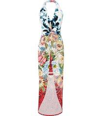 abito con scollo all''americana a fiori / leopardato (rosso) - bodyflirt boutique