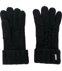 michael kors cable knit gloves - black
