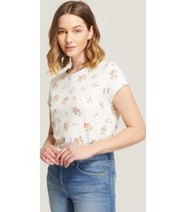 camiseta blanca floral blanco xs
