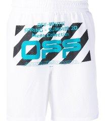 off-white wavy line mesh shorts