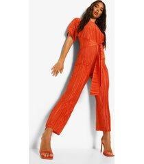plisse culotte jumpsuit met ceintuur, rust