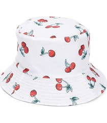 lulla collection by bindya women's cherry-print bucket hat - white red