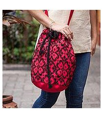 cotton blend bucket bag, 'firelit garden' (mexico)