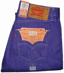 levi's men's 501 jeans pants classic shrink-to-fit button fly 501-2409 purple