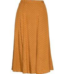 satin jacquard skirt knälång kjol orange by ti mo