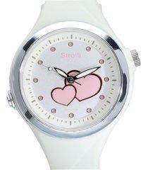 orologio solo tempo cinturino in silicone bianco e cassa in acciaio per donna