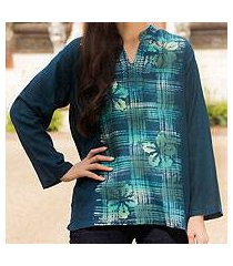 cotton batik tunic, 'teal thai hibiscus' (thailand)