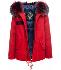 red jazzy mini parka with tartan