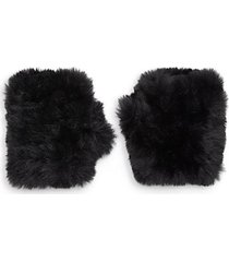 mandy faux fur fingerless mittens