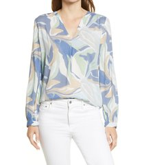 caslon(r) v-neck long sleeve crinkle crepe shirt, size medium p in blue- tan camo wave at nordstrom