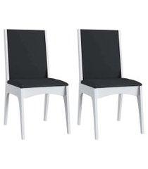 cadeiras mdf branco com o assento preto lilies móveis