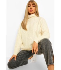 all over cable knit turtle neck sweater, ivory