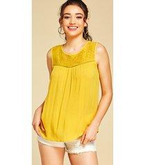 yoins amarillo hueco diseño estampado de encaje redondo cuello camiseta sin mangas