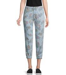 mother women's the no zip misfit floral crop jeans - fresh cut - size 24 (0)