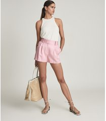 reiss ember - tailored pleat front shorts in pink, womens, size 12