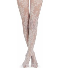 calzedonia - floral tulle effect tights, m/l, pink, women