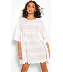 broderie anglaise scallop edge smock dress, white