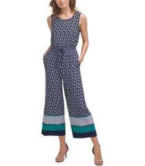 jessica howard petite printed drawstring-waist jumpsuit