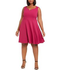 b darlin trendy plus size scuba fit & flare dress