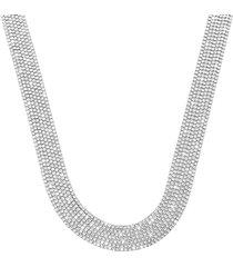 collana multifilo larga in metallo rodiato con strass per donna