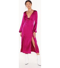 womens all cut-out of patience satin midi dress - hot pink