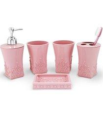 (lifestyle) kit banheiro c/ 5 pã§s rosa - rosa - feminino - dafiti