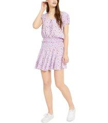 ultra flirt juniors' printed smocked-waist peasant blouse