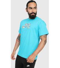 camiseta azul aguamarina nike sb paradise logo 2