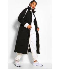 lange gewatteerde teddy jas met faux fur zoom, zwart