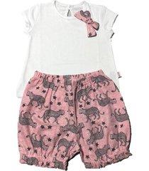 conjunto  rosa puchuni glitter
