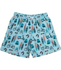 shorts estampado ícones praia 613.33 mash