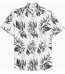 mens cream ecru floral print slim shirt