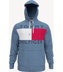 tommy hilfiger men's essential logo hoodie medium blue heather - s