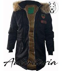 chaqueta invierno estilo parka autoritaria para hombre-negro